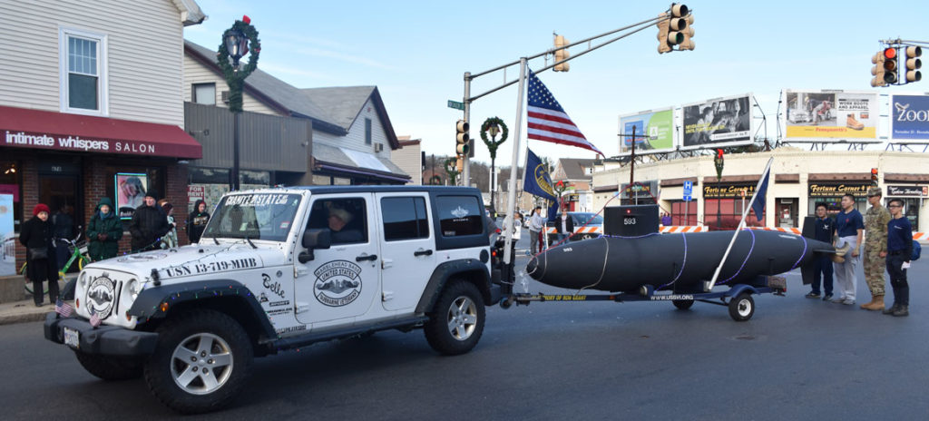 USS Thresher nuclear-powered attack submarine memorial float from the Marblehead Base of the United States Submarine Veterans in Malden Parade of Holiday Traditions, Nov. 24, 2018. (Greg Cook)