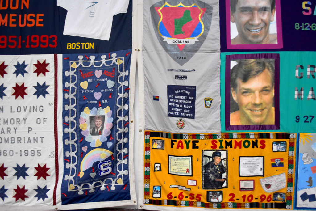 "AIDS Quilt at ""Medicine Wheel"" at Boston Center for the Arts Cyclorama, Nov. 30, 2018. (Greg Cook)"