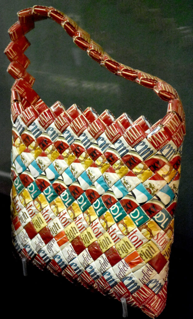 """Purse made at Nevada State Prison at Carson City in the 1960s in """"Inmate Ingenuity"""" at the Museum of the National Center of Afro-American Artists. (Greg Cook)"""