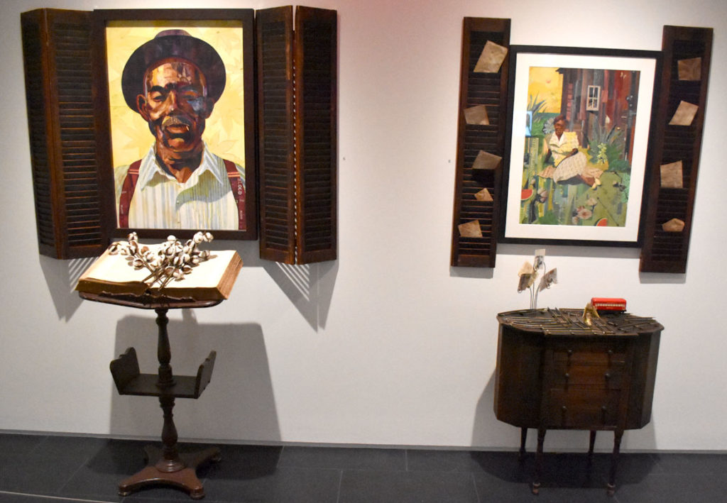 "Ekua Holmes, ""Idyll of the South: Root of Jesse,"" 2016 (left), and ""Idyll of the South: Portrait of Aunt Mary,"" 2018."
