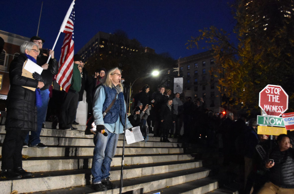 "Myra Slotnick speaks at the ""Rally To Protect Mueller & Rosenstein - You Can't Fire The Truth"" on Boston Common, Nov. 8, 2018. (Greg Cook)"