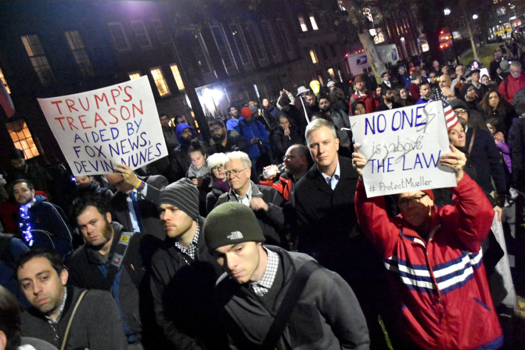 """Rally To Protect Mueller & Rosenstein - You Can't Fire The Truth"" on Boston Common, Nov. 8, 2018. (Greg Cook)"