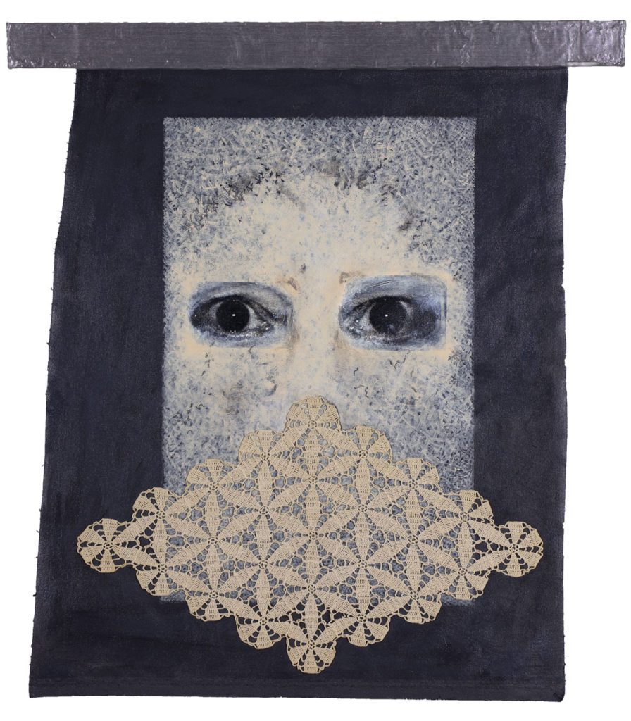 "Susan Erony ""Gertrude and Me,"" 2018, acrylic, acrylic transfer, and crocheted linen thread on canvas. (Courtesy Trident Gallery)"