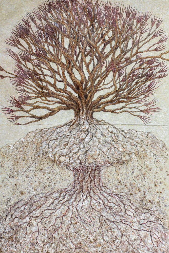 "Susan Erony ""Growth,"" 2018, pencil, burnt paper, and acrylic on paper. (Courtesy Trident Gallery)"