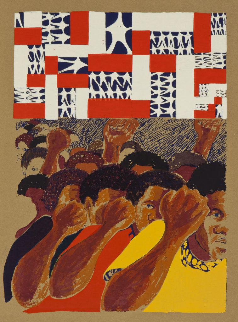 "Barbara Jones-Hogu, ""Land Where My Father Died,"" 1968, Color screenprint on gold-colored Japanese-style laid paper. Smart Museum of Art, The University of Chicago, Purchase, The Paul and Miriam Kirkley Fund for Acquisitions and The James M. Wells Curatorial Discretion Acquisition Fund, 2016.13.1."