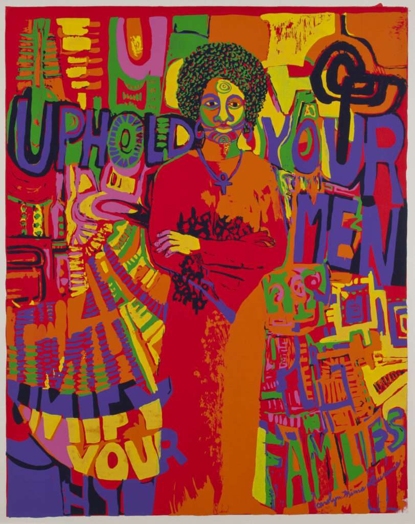 "Carolyn Lawrence, ""Uphold Your Men,"" 1971, screenprint on wove paper. Smart Museum of Art, The University of Chicago, Gift of David Lusenhop in honor of the artist, 2013.7."