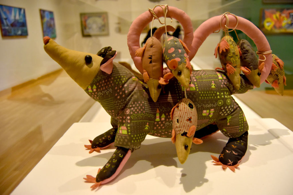 "Dahlia Ipcar's ""Opossum Family,"" 1968, from the late artist's exhibition ""Blue Moons & Menageries"" at Bates College Museum of Art, Lewiston, Maine, August 2018. (Greg Cook)"