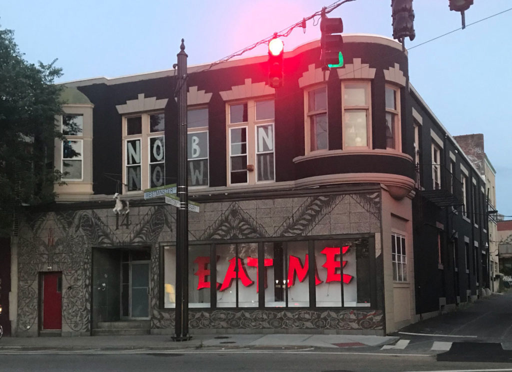 """2018 Dorrys winner for Public Art of the Year: Dana Heng's """"Eat Me [in Asian Font]"""" at Dirt Palace."""