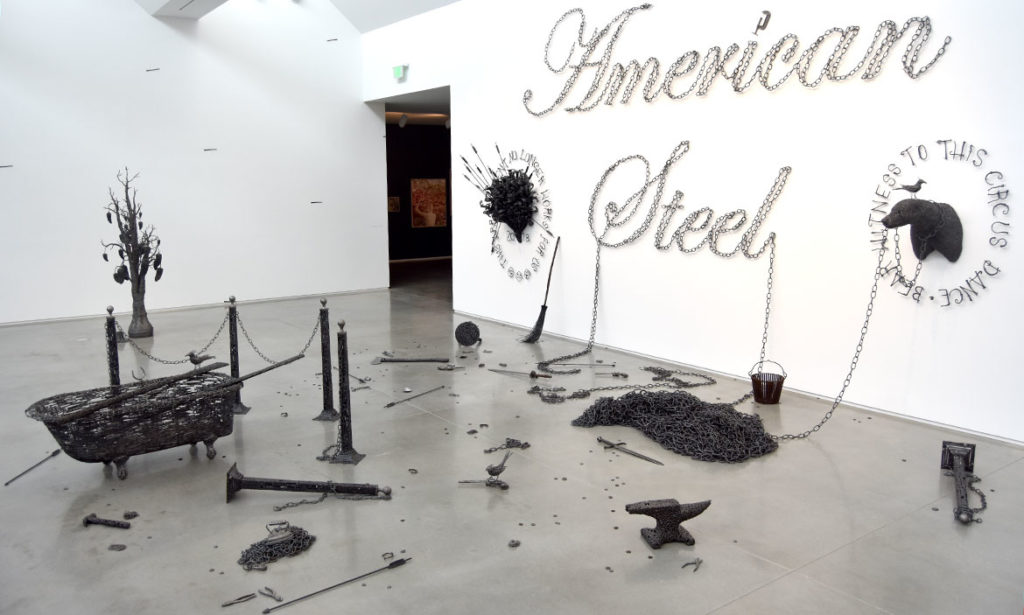 """American Steel,"" constructed entirely of forged and welded nails by Brunswick, Maine, sculptor John Bisbee, at the Center for Maine Contemporary Art in Rockland, July 30, 2018. (Greg Cook)"