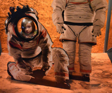 "Mars photo booth at ""Space: An Out-of-Gravity Experience"" at Boston's Museum of Science. (Greg Cook)"
