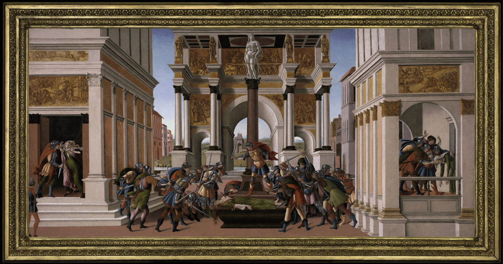 "Sandro Botticelli, ""The Story of Lucretia,"" c. 1500, tempera and oil on panel. (Courtesy Gardner Museum)"