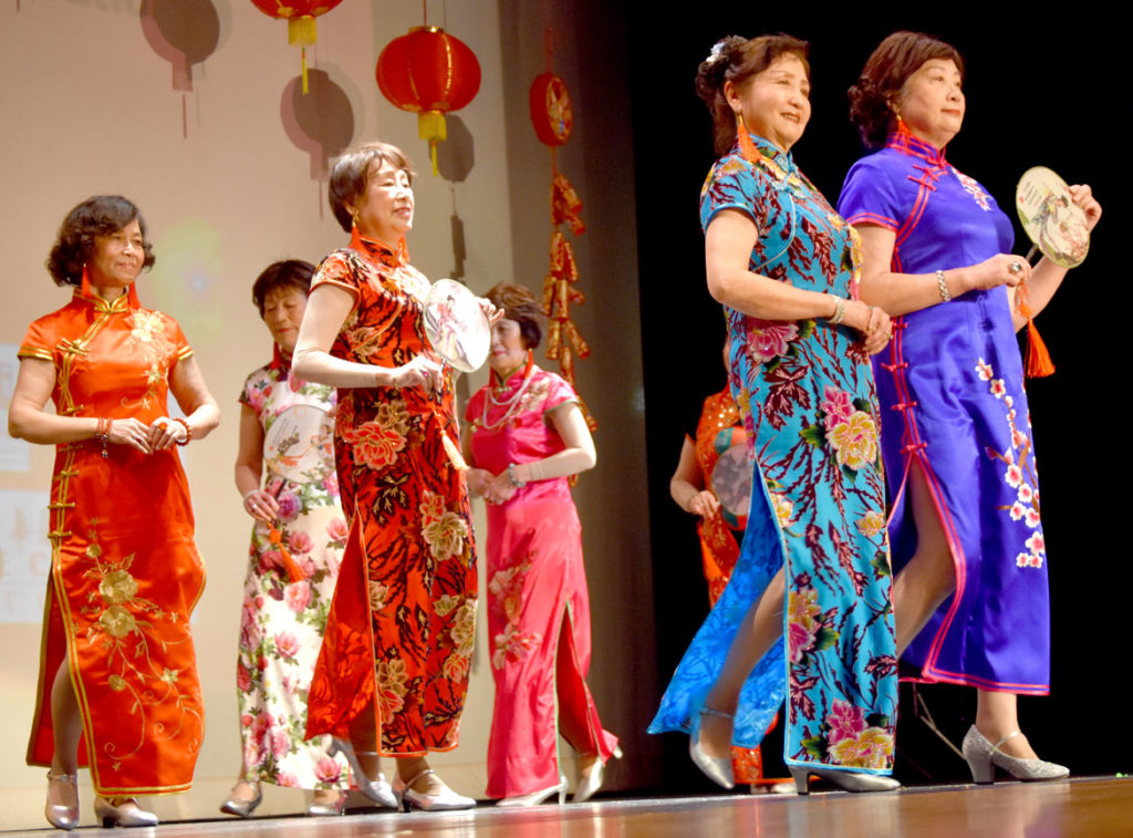 Fashion show by the Sunset Fashion Group during Chinese Lunar New Year Celebration at Malden High School, Jan. 26, 2019. (Greg Cook)