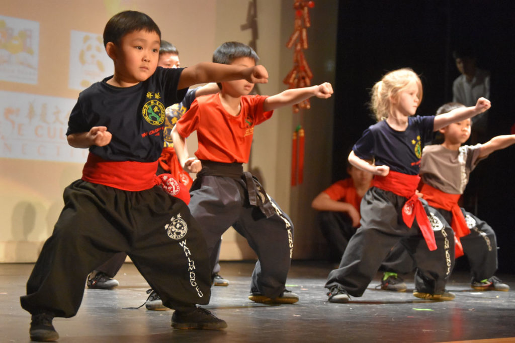 Kung Fu demonstration by Wah Lum Kung Fu and Tai Chi Academy during Chinese Lunar New Year Celebration at Malden High School, Jan. 26, 2019. (Greg Cook)