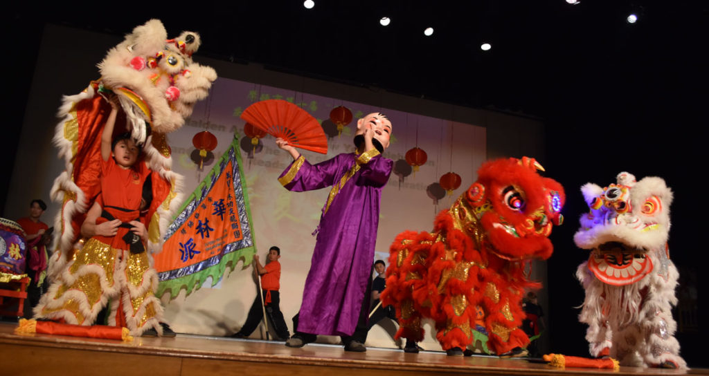Lion Dance by Wah Lum Kung Fu and Tai Chi Academy during Chinese Lunar New Year Celebration at Malden High School, Jan. 26, 2019. (Greg Cook)