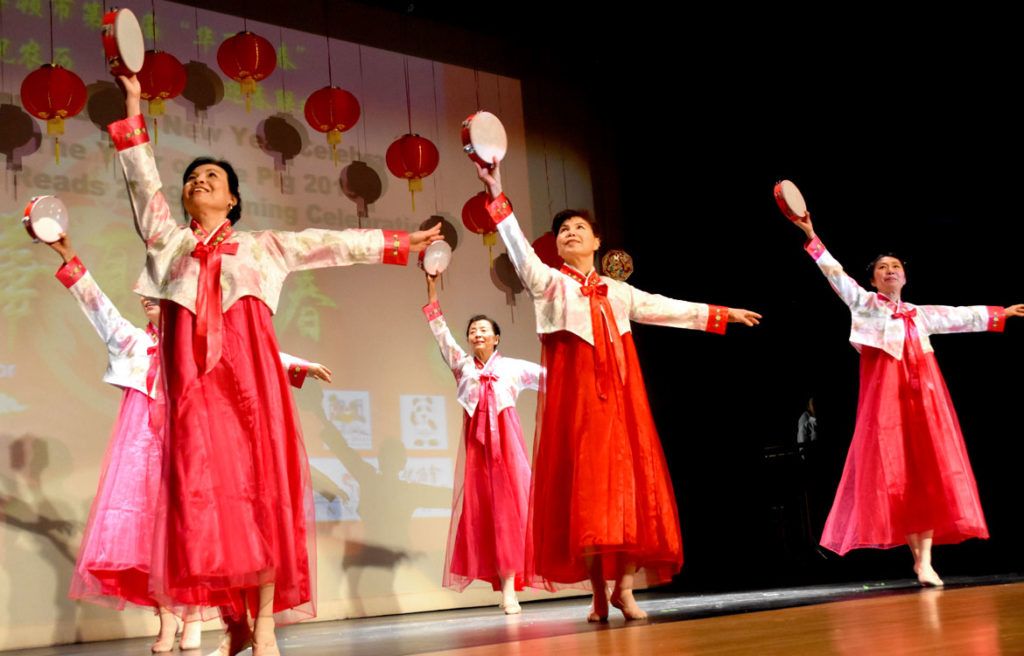 """Tambourine Dance"" by Chinese Culture Connection's Multi Arts Performance Troupe during Chinese Lunar New Year Celebration at Malden High School, Jan. 26, 2019. (Greg Cook)"