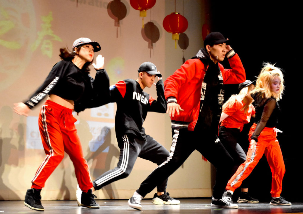 Hip hop dancing during Chinese Lunar New Year Celebration at Malden High School, Jan. 26, 2019. (Greg Cook)