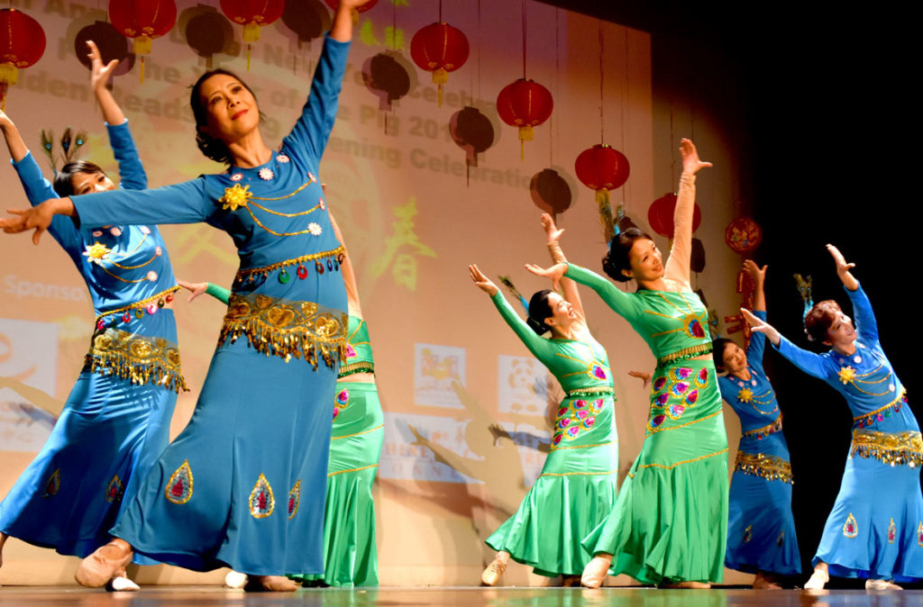 Dancing during Chinese Lunar New Year Celebration at Malden High School, Jan. 26, 2019. (Greg Cook)