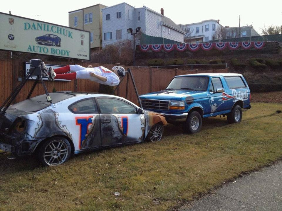 Danilchuk Auto Body's 2012 Patriots versus Giants display. (Courtesy)