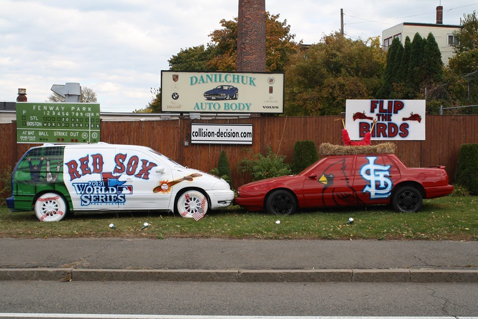 Danilchuk Auto Body's October 2013 Red Sox versus Cardinals display. (Courtesy)