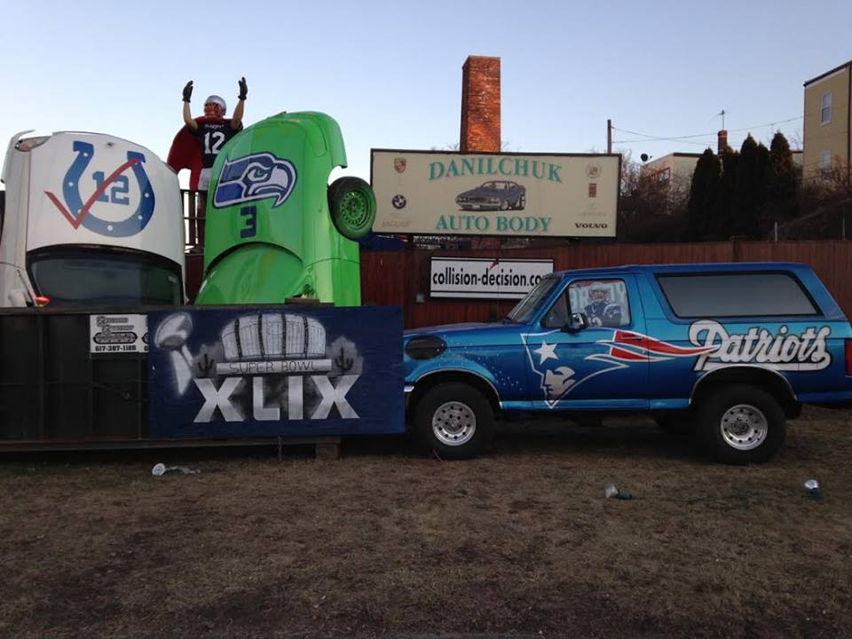 Danilchuk Auto Body's 2015 Patriots versus Colts and Seahawks display. (Courtesy)