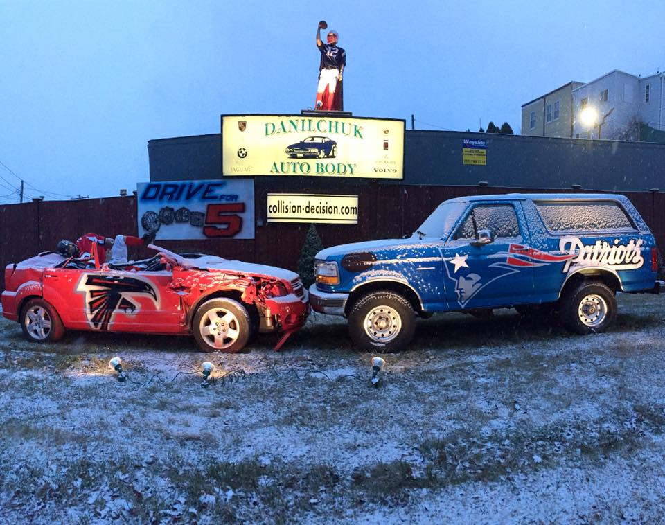 Danilchuk Auto Body's 2017 Patriots versus Falcons display. (Courtesy)