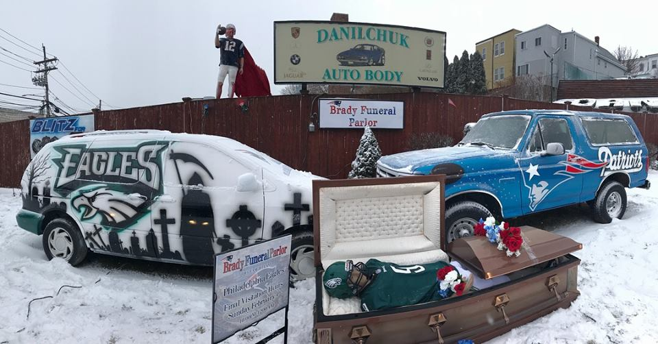 Danilchuk Auto Body's 2018 Patriots versus Eagles display. (Courtesy)
