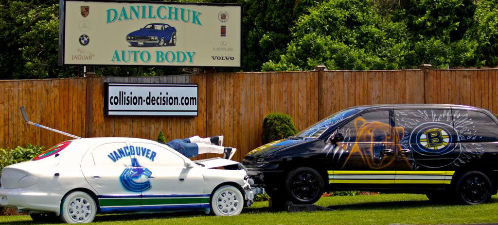 Danilchuk Auto Body's June 2011 Bruins versus Vancouver display. (Courtesy)