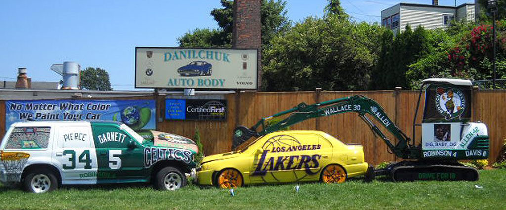Danilchuk Auto Body's June 2010 Celtics versus Lakers display. (Courtesy)
