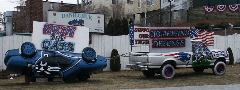 Danilchuk Auto Body's Patriots versus Panthers display. (Courtesy)