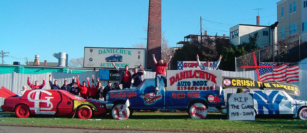 Danilchuk Auto Body's Red Sox versus Cardinals display. (Courtesy)