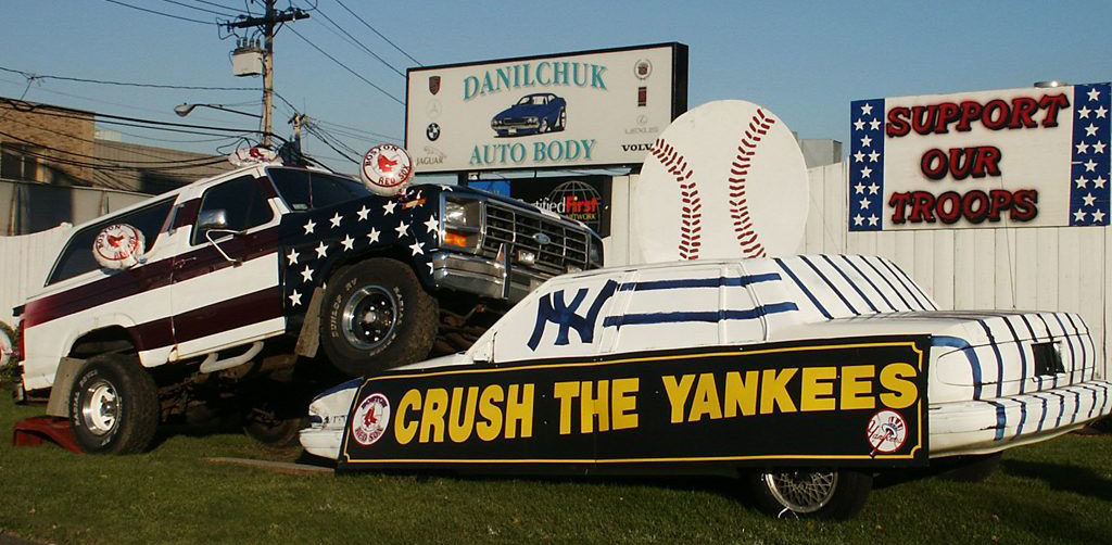 Danilchuk Auto Body's Red Sox versus Yankees display. (Courtesy)
