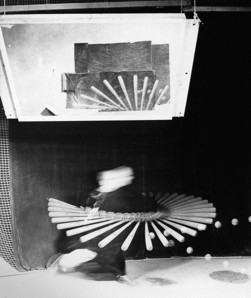"Harold Edgerton, ""Baseball Batter, Mutiflash with Overhead Mirror,"" 1965."