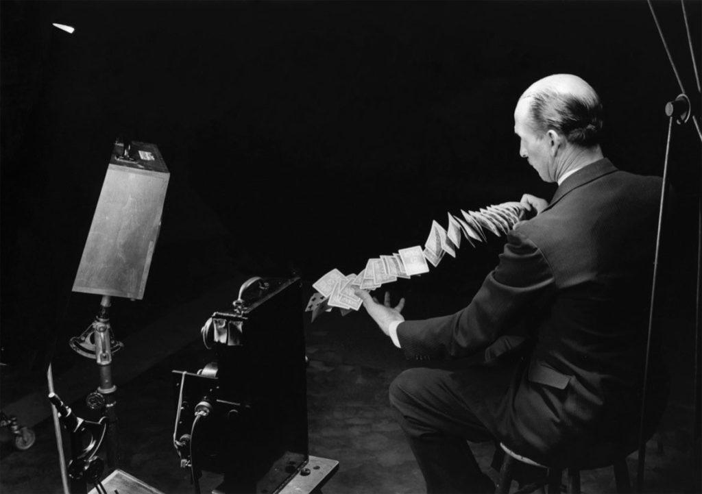 "Harold Edgerton, ""Card Shuffle Set-up (miss),"" 1940."