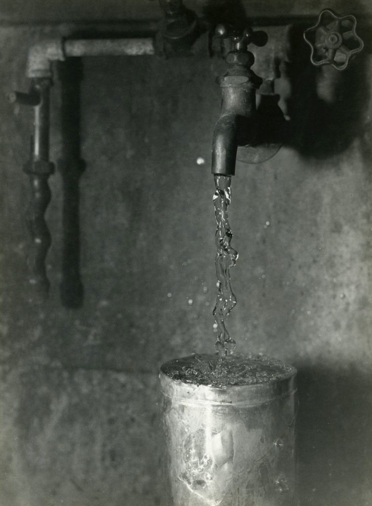 "Harold Edgerton, ""Water onto Can,"" ca. 1932. ""A smooth column of water hits the bottom of an overturned can and transforms itself. The revealed mystery of such simple occurrences fascinated Edgerton and captivated the early audiences to whom he demonstrated the magic of strobe."""