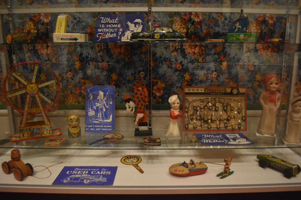 "Vintage toys collected by Karl Winsum in ""Hairy Who? 1966–1969"" at the Art Institute of Chicago. (Greg Cook)"
