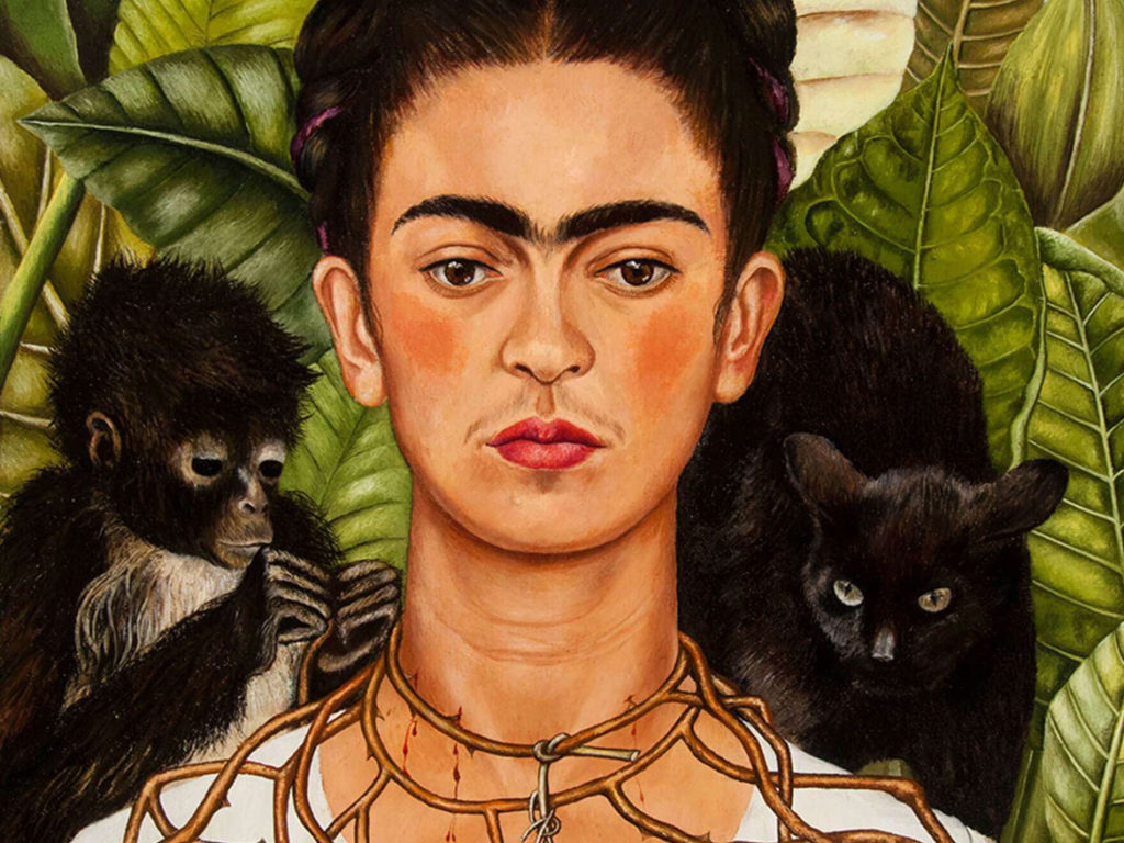 "Frida Kahlo, ""Self-Portrait with Hummingbird and Thorn Necklace (detail),"" 1940, oil on canvas. (© 2018 Banco de México Diego Rivera Frida Kahlo Museums Trust, Mexico, D.F. / Artists Rights Society (ARS), New York)"