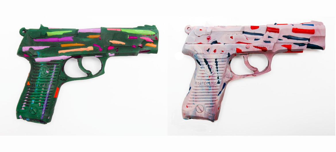 "Crayon guns from ""One Gun Gone"" project. (Courtesy Scott Lapham)"