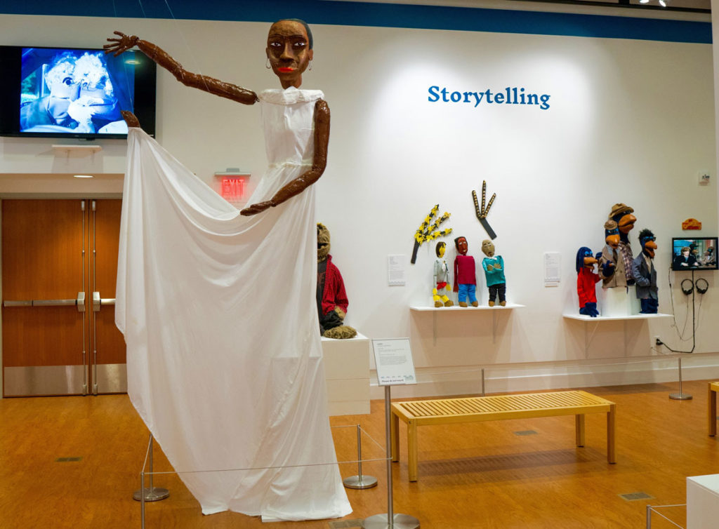 "Nehprii Amenii's Judith Jamison puppet (left) in ""Living Objects: African American Puppetry."""