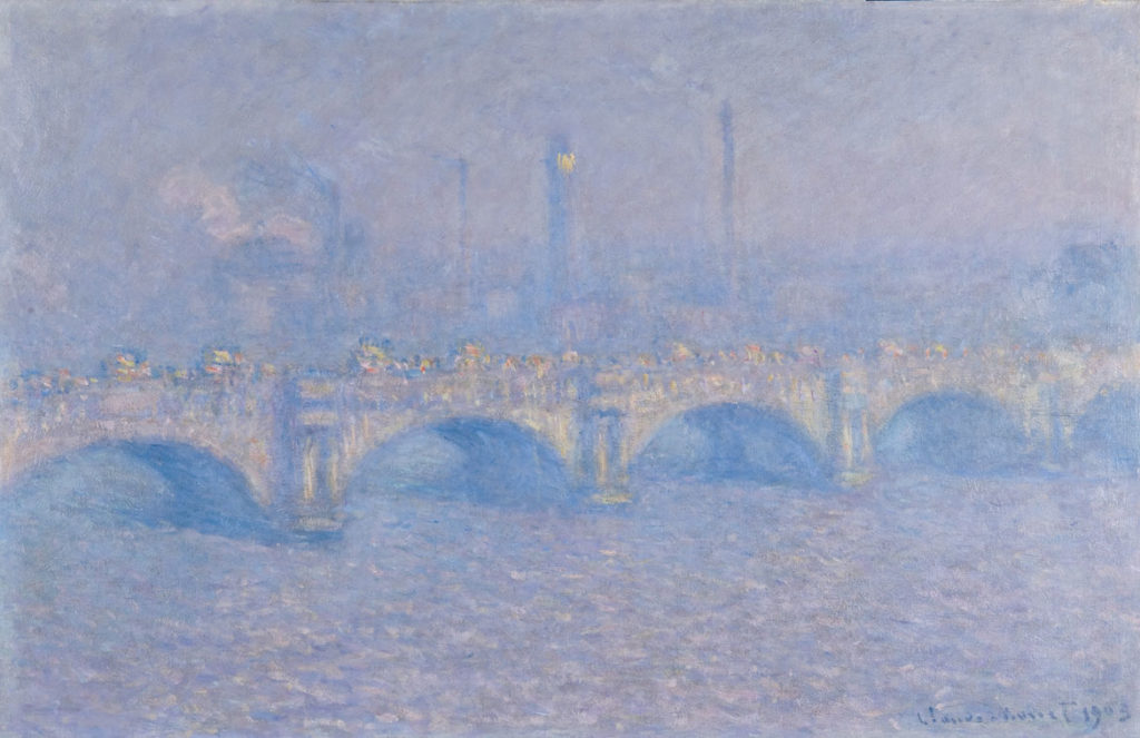 "Claude Monet, ""Waterloo Bridge, Veiled Sun,"" 1903, oil on canvas. (Couresy of the Memorial Art Gallery of the University of Rochester)"