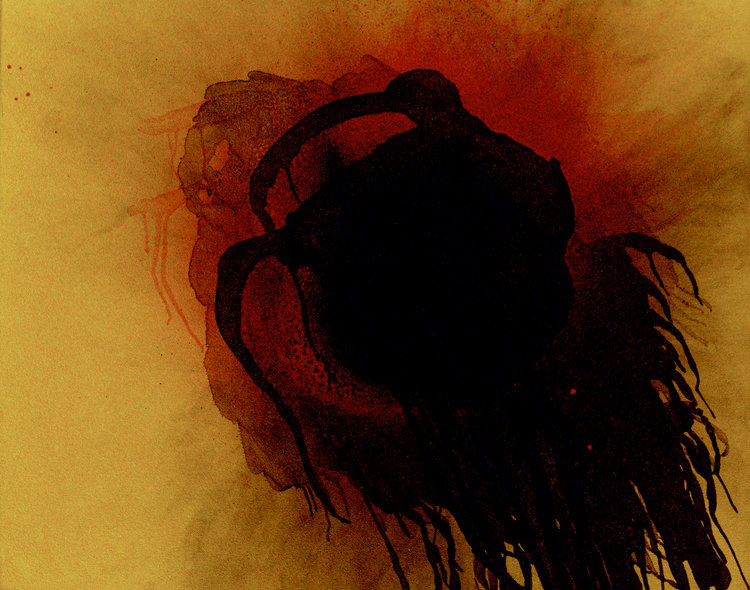 "Otto Piene, ""Plusquamperfect (Past Perfect Participle,"" 2003, oil and fire on canvas. (Photo © Ante Glibota)"
