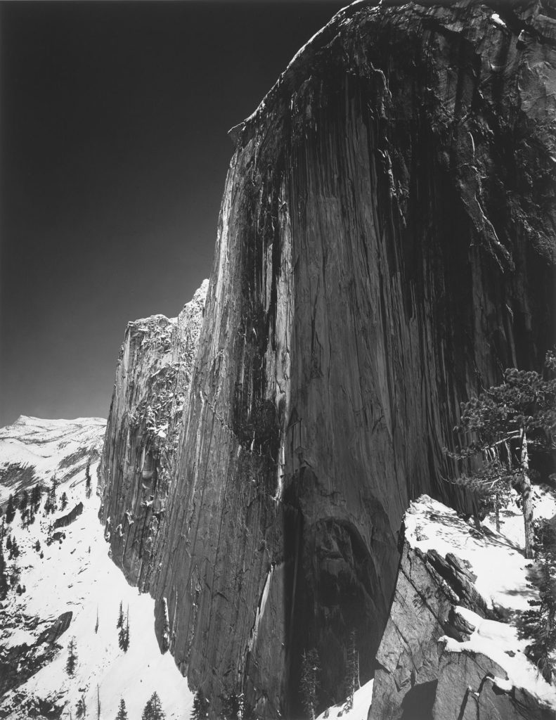 "Ansel Adams, ""Monolith – The Face of Half Dome, Yosemite National Park,"" 1927, print date: 1950–60, photograph, gelatin silver print. (Courtesy, Museum of Fine Arts, Boston)"