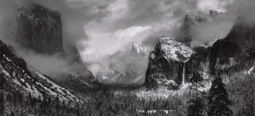 """Ansel Adams, """"Clearing Winter Storm, Yosemite National Park,"""" about 1937, photograph, gelatin silver print. (Courtesy, Museum of Fine Arts, Boston)"""