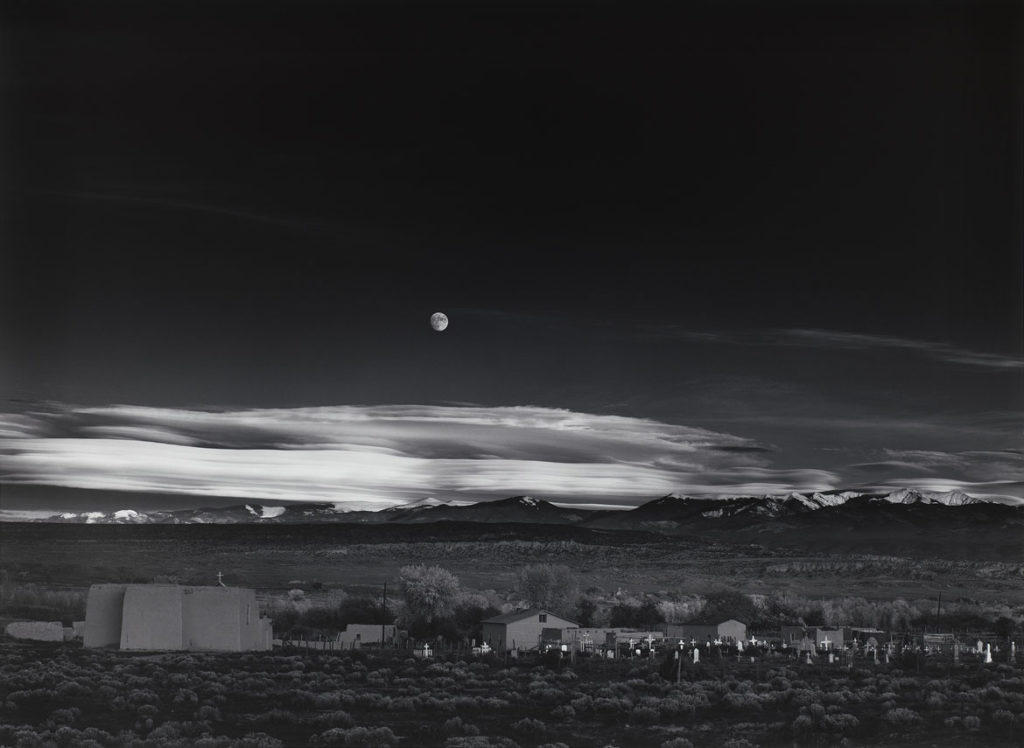 "Ansel Adams, ""Moonrise, Hernandez, New Mexico,"" 1941, print date: 1965–75, photograph, gelatin silver print. (Courtesy, Museum of Fine Arts, Boston)"