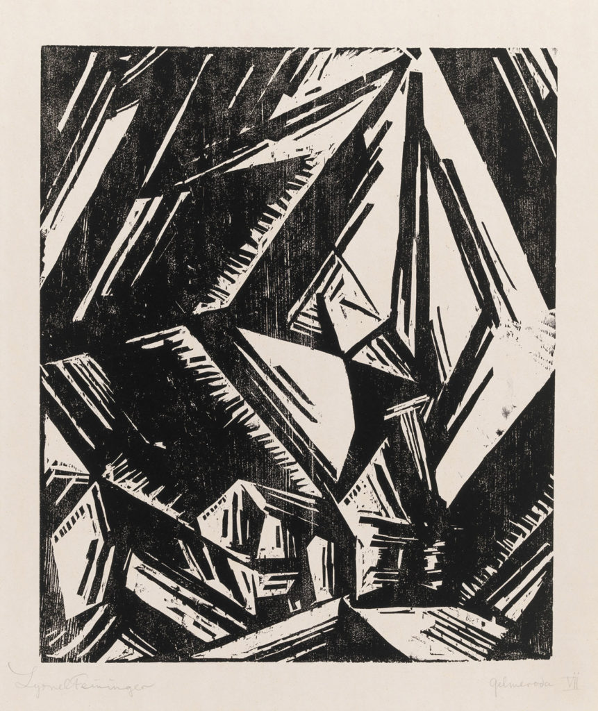 "At Museum of Fine Arts: Lyonel Meininger, ""Church at Gelmeroda,"" 1918, woodcut. (Courtesy Museum of Fine Arts, Boston)"