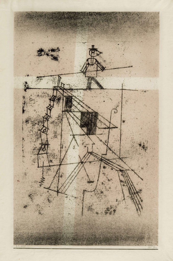 "At Museum of Fine Arts: Paul Klee, ""Tightrope Walker,"" 1920, lithograph. (Courtesy Museum of Fine Arts, Boston)"