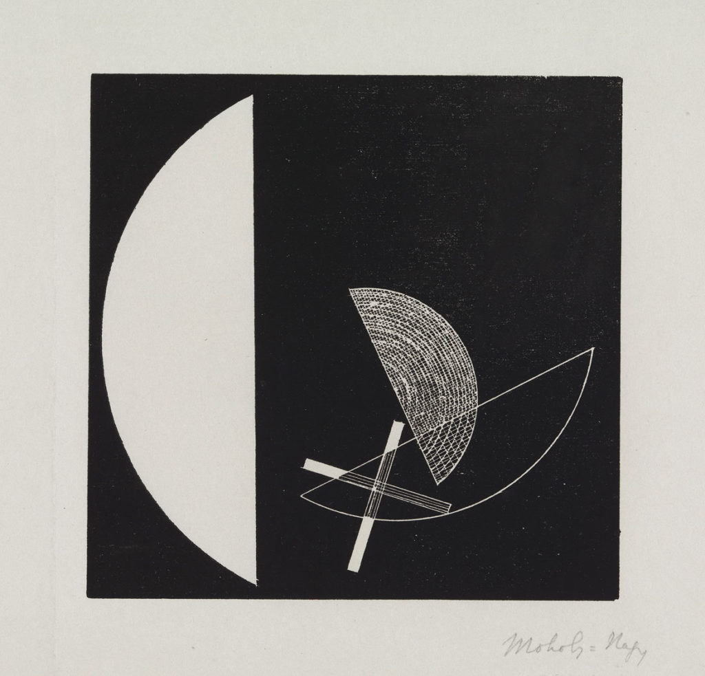"At Museum of Fine Arts: László Moholy‐Nagy. ""Segments of Circle with Cross,"" about 1923, linocut or woodcut. (Courtesy Museum of Fine Arts, Boston)"