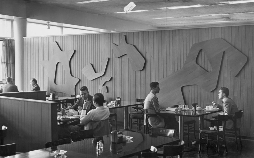 "Hans Arp ""Constellations II"" relief, redwood panels with red paint, as displayed in Harkness Commons Dining Room, Harvard University, c. 1950. (Photo: D. H. Wright)"