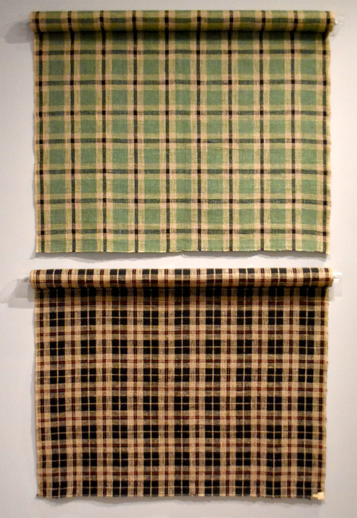 "At Harvard Art Museums: Anni Albers, ""Bedspreads for the Harvard Graduate Center,"" 1950, plain weave plaid in cotton. (Greg Cook)"