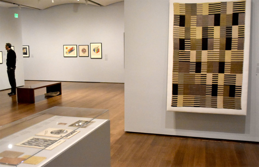 "At Harvard Art Museums: Anni Albers, ""Wall hanging,"" (at right) 1926, silk two-ply weave. (Greg Cook)"