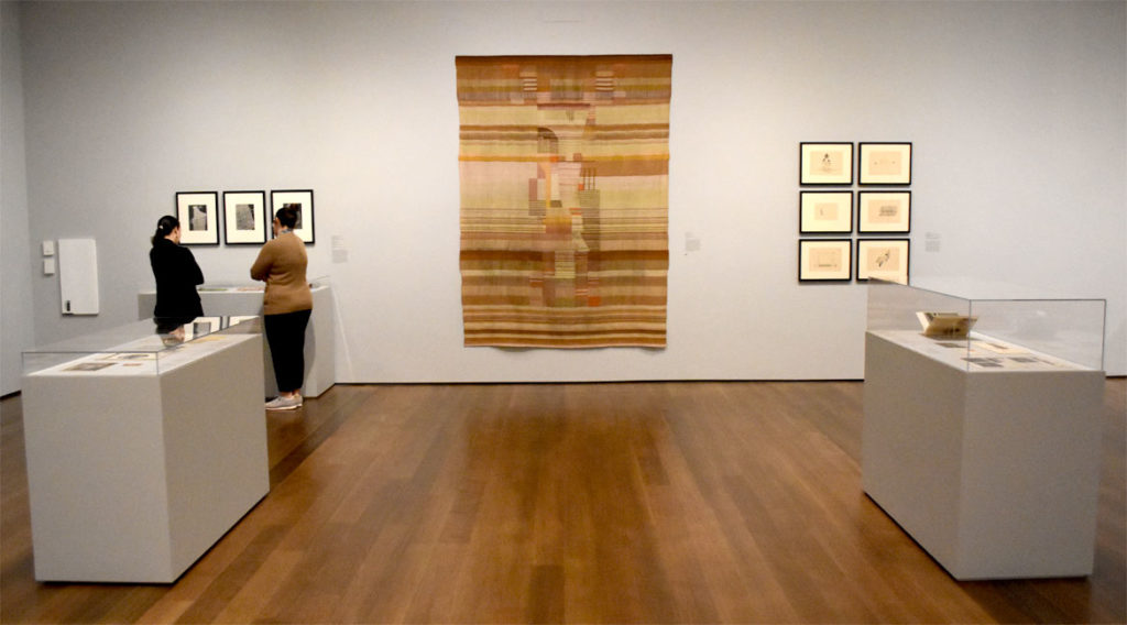 "At Harvard Art Museums: Gunta Stölzl, ""Tapestry,"" 1922–23, cotton, wool, and linen fibers. (Greg Cook)"